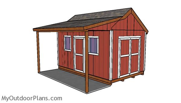 10x16 Shed with Side Porch Plans