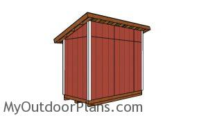 5x10 Lean to Shed Plans - Back view