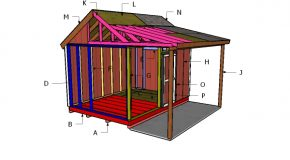 10×14 Shed with Porch Roof Plans