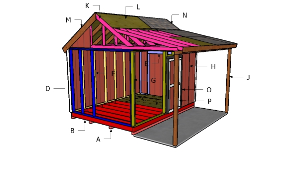 10x14 Shed with Porch Roof Plans