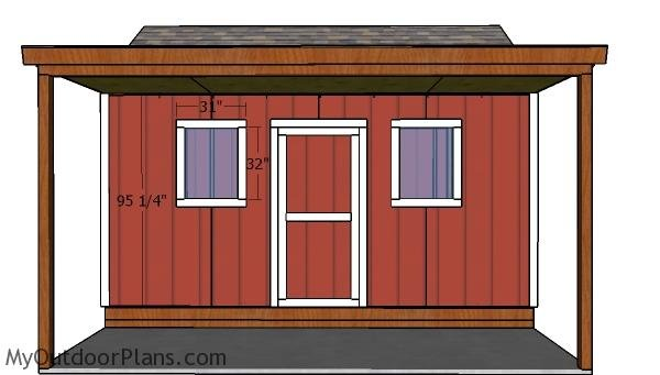 10x16 Shed with Porch Doors Plans