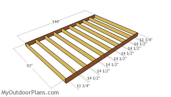 Large shed floor frame