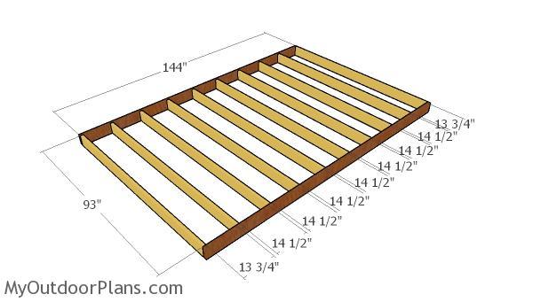 Large shed floor frame