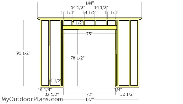 Large shed side wall with door