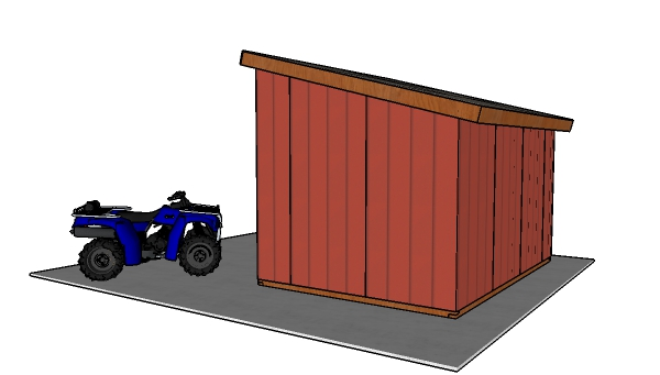 10x14 Run In Shed Plans - Back view