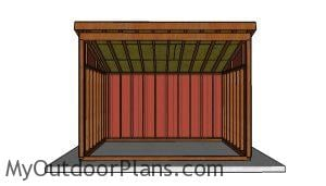 10x14 Run In Shed Plans - Front view