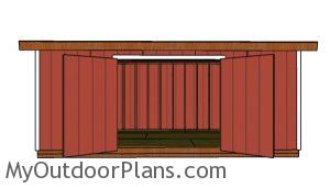 10x20 Lean to Shed Plans - Front View