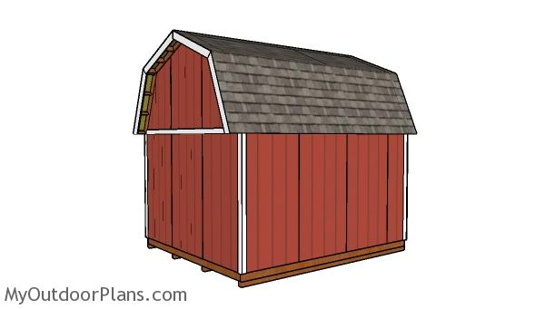12x14 Gambrel Shed Plans - Back View