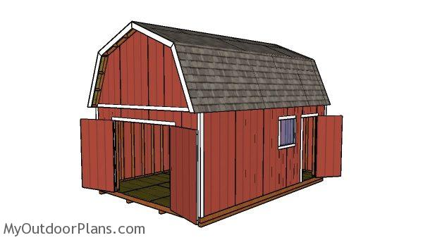 14x20 gambrel shed plans - Side view