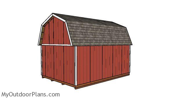 14x20 gambrel shed plans - back view