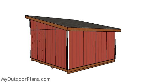 16x16 lean to shed plans - Back view