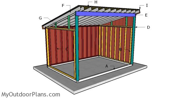 10x14 Run in Shed Roof Plans