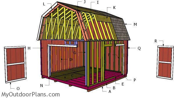 14x14 Gambrel Shed Roof - Free DIY Plans   MyOutdoorPlans ...
