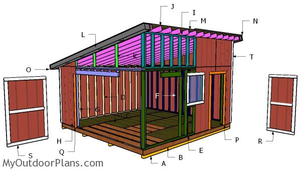 16x16 lean to shed free diy plans myoutdoorplans for Lean to house plans