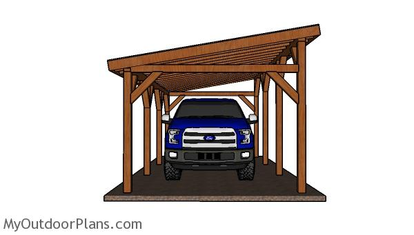 12x24 Do It Yourself Lean to Carport Plans - Front view