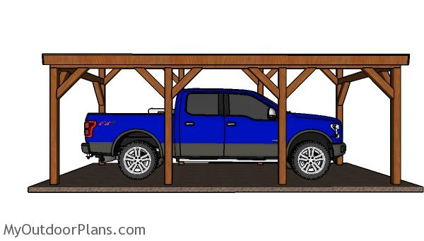 12x24 Do It Yourself Lean to Carport Plans - Side view