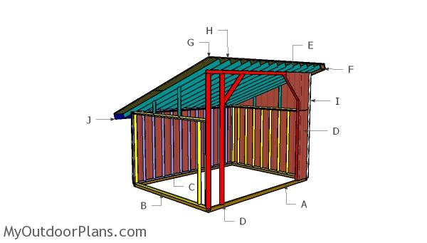 12×16 Run in Shed Roof Plans