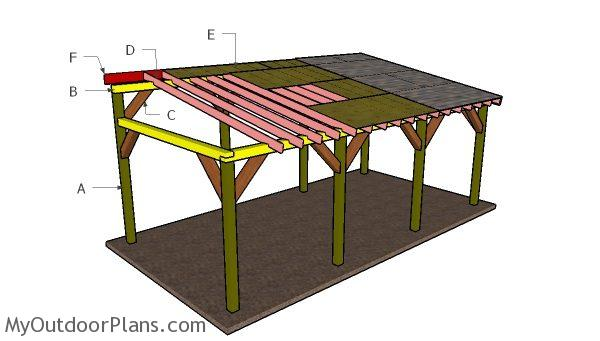 12x24 lean to carport roof plans myoutdoorplans free for Wood carport plans free