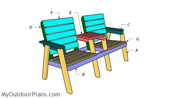 Building a modern double bench chair