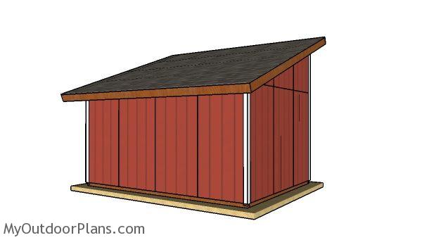 Free 12x16 run in shed plans - Back view