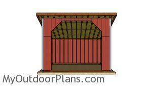 Free 12x16 run in shed plans - Front view