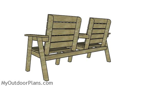 Modern double chair bench plans - Back view