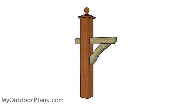 Wooden mailbox post plans - Front view