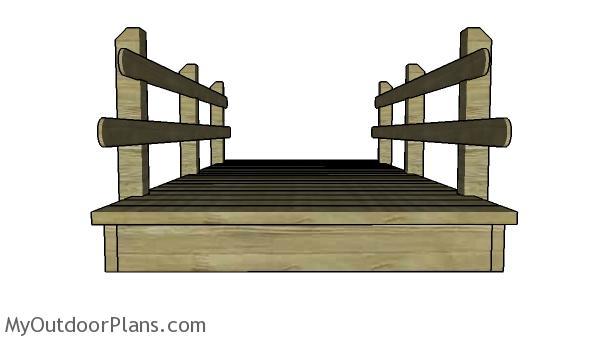 10' Flat Garden Bridge Plans - Front view