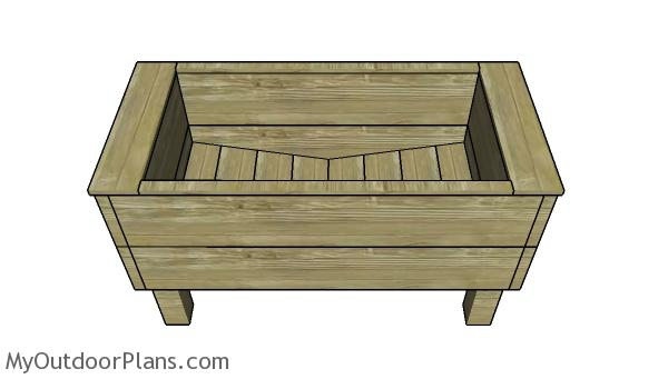 Extra deep planter box plans - side view