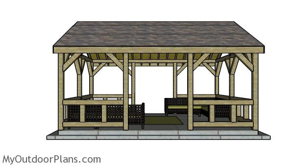 15x20 pavilion plans - Side view