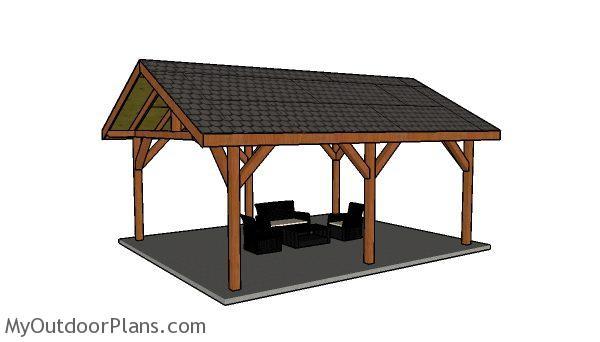 Do It Yourself Home Design: 16x24 Backyard Pavilion - Free DIY Plans