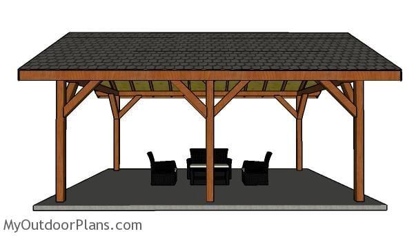 16x24 Pavilion Plans - Side view
