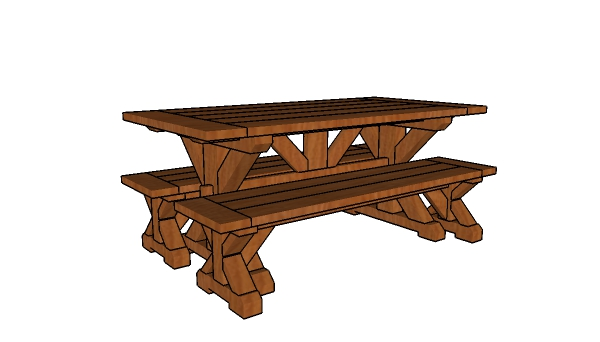 6ft Farmhouse Benches with table