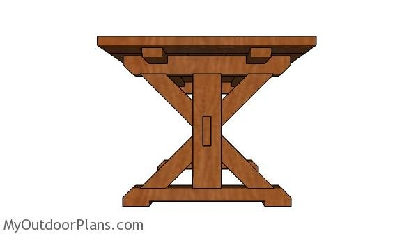 6ft Farmhouse Table Plans - Side view
