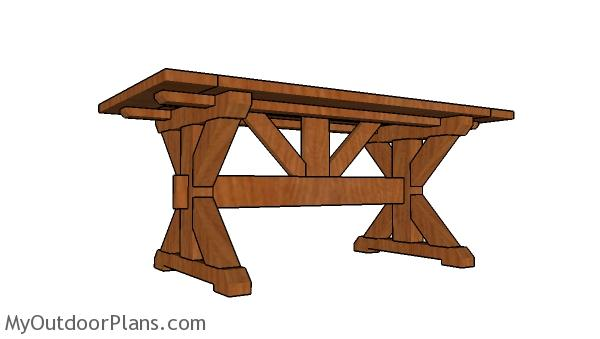 6ft X-shaped Farmhouse Table Plans