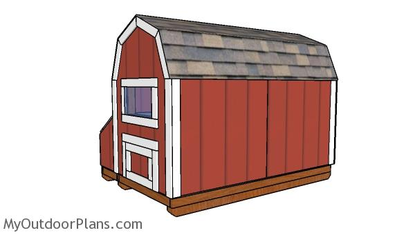 7 ft Tall Chicken Coop Plans - Back View