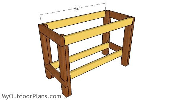 Assembling the frame of the workbench