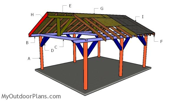 16x24 Backyard Pavilion Roof - Free DIY Plans