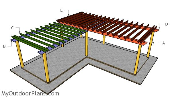 L shaped pergola plans myoutdoorplans free woodworking L shaped building