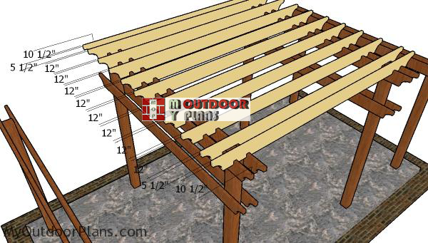 Fitting-the-rafters-to-the-tiered-pergola