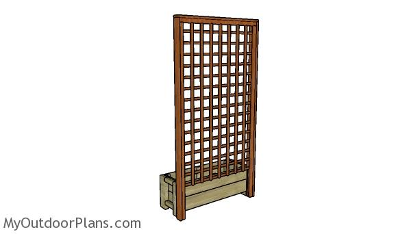 Planter box with trellis plans - Back view