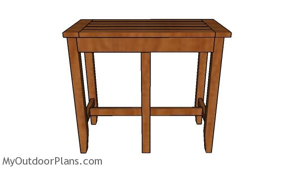 Bar stool bench plans - Front view