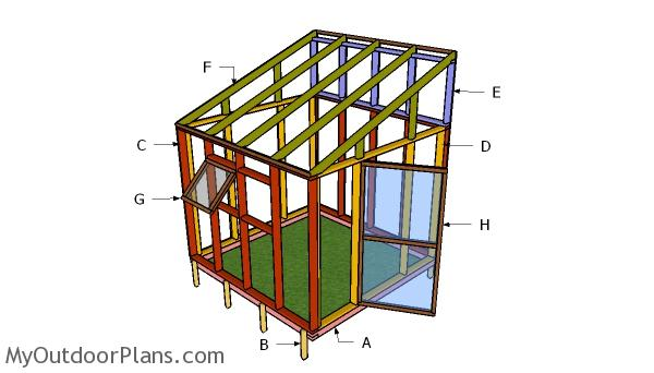 8x8 Lean to Greenhouse Roof Plans