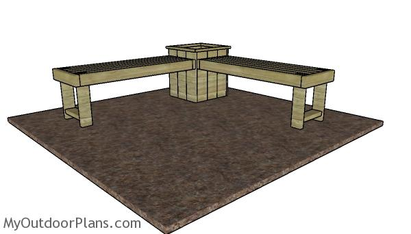 Corner bench with planter plans