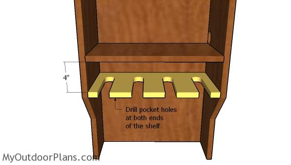 Fitting the drill shelf