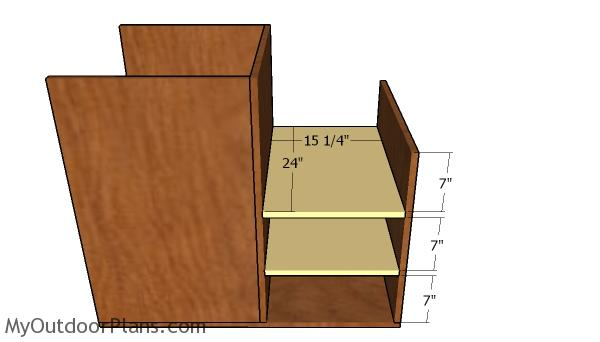 Right storage unit shelves