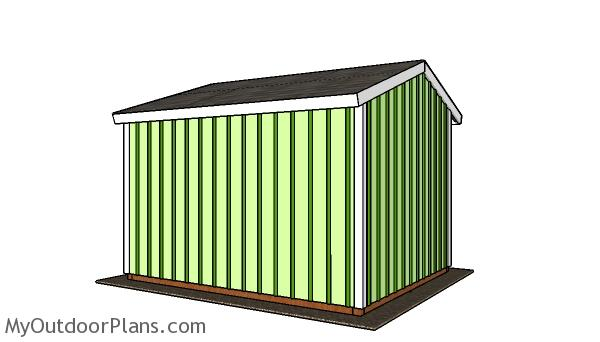 10x12 Run in Shed Plans - Back view