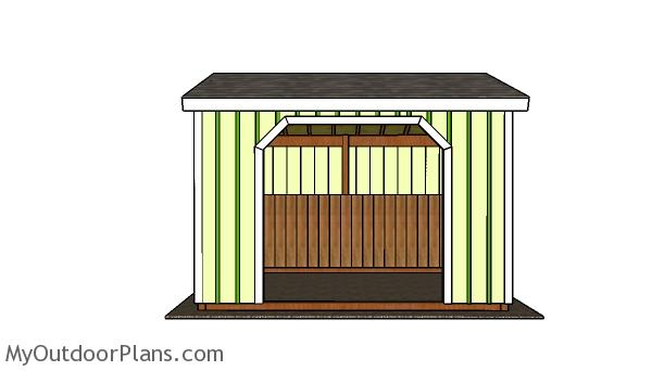 10x12 Run in Shed Plans - Front view