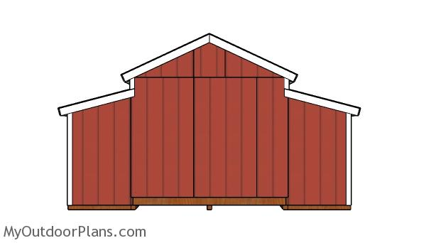 10x18 Center Aisle Shed Plans - Back view