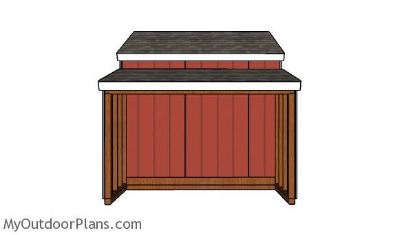 10x18 Center Aisle Shed Plans - Side view